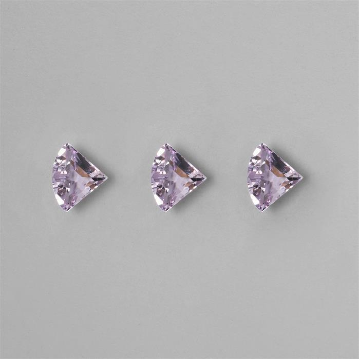 9cts Gemstone Set of Pink Amethyst Fan Cut Faceted Triangles Approx 14x11mm, (3pcs)