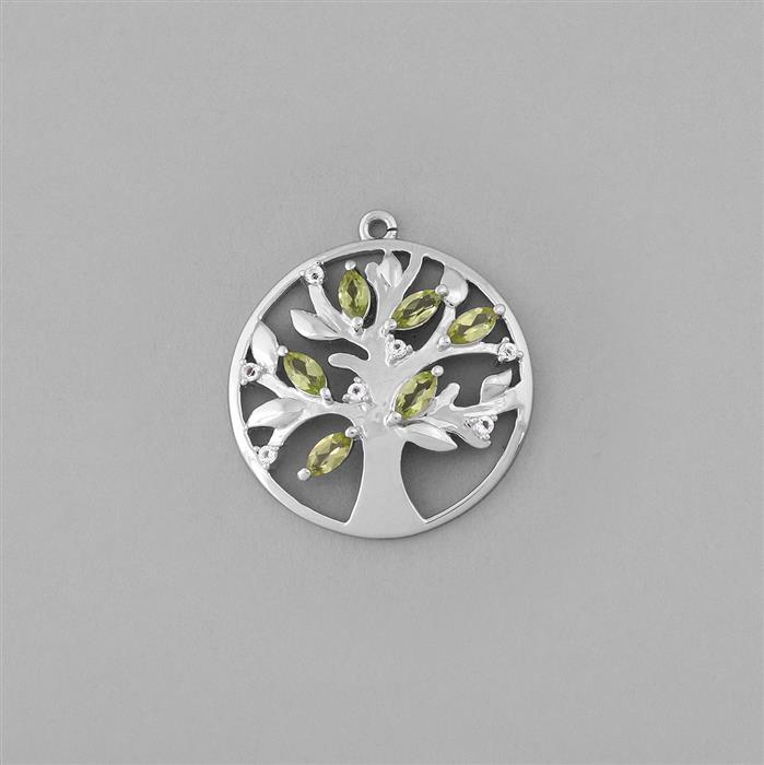 925 Sterling Silver Gemset Tree Charm Approx 27x25mm Inc. Peridot and White Topaz.