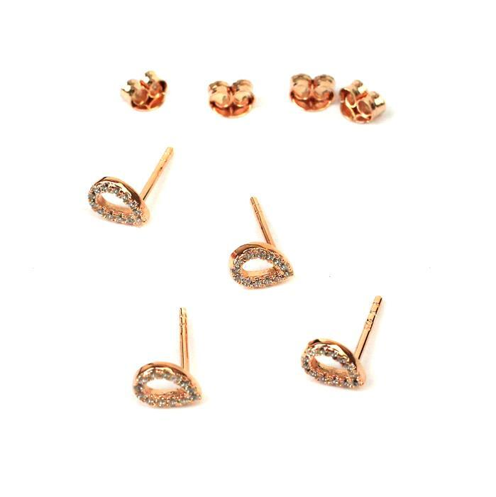 925 Sterling Silver Rose Gold Plated Pear Shape Earrings with Cubic Zirconia, Butterfly Backs Approx 5x7mm 2 Pairs
