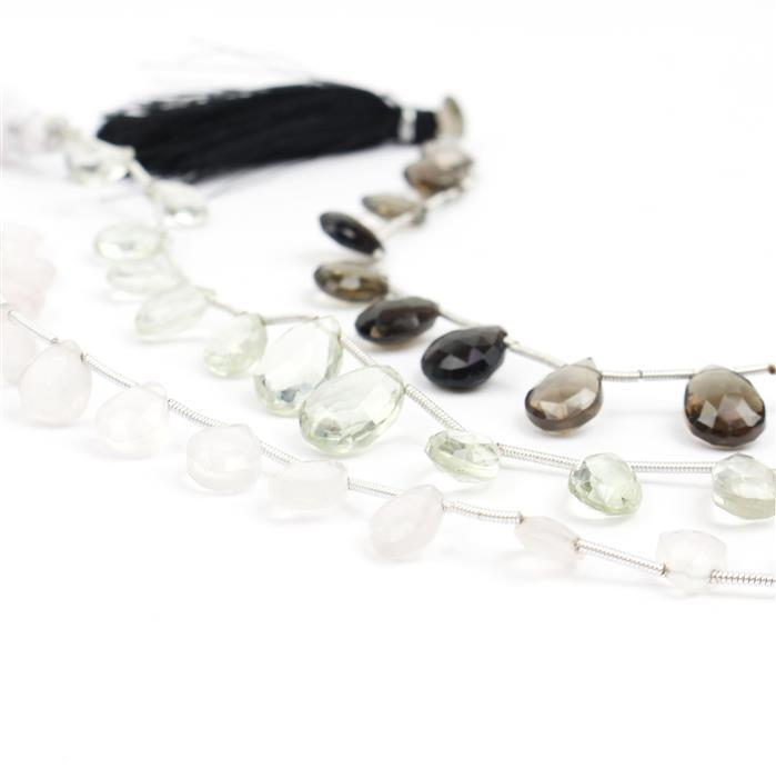 88cts Pack of 3 - Green Amethyst, Smokey & Rose Quartz Graduated Faceted Pears Approx 6x4 to 9x7mm, 17cm Each Strand.