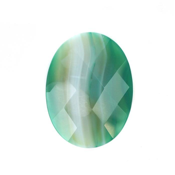 40cts Green Stripe Agate Faceted Oval Cabochon Approx 40x30mm