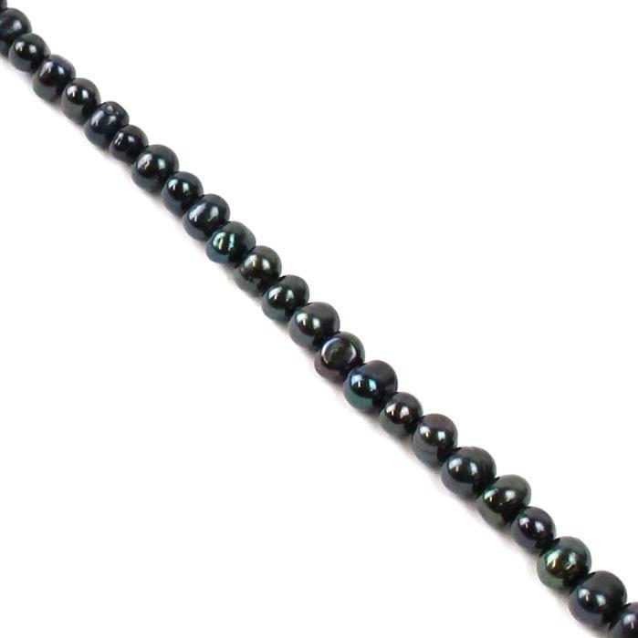 Dyed Black Freshwater Cultured  Potato Pearls Approx 4x5mm, 38cm Strand