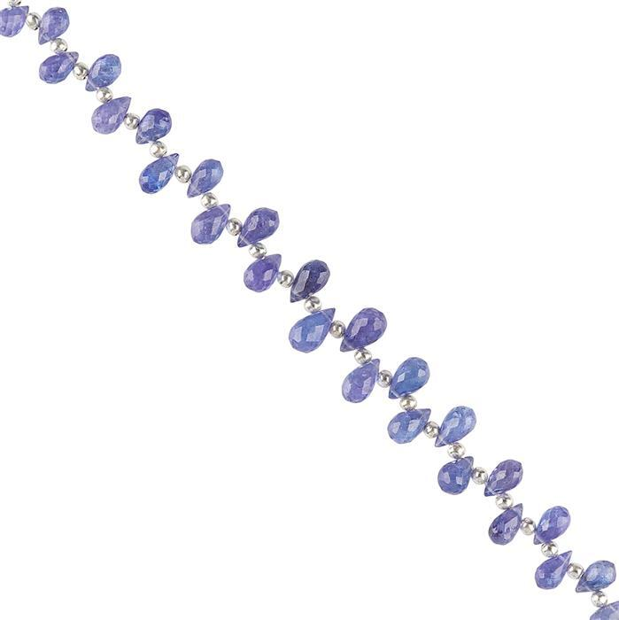 24cts Tanzanite Graduated Faceted Drops Approx 5x3 to 8x4mm, 10cm Strand.