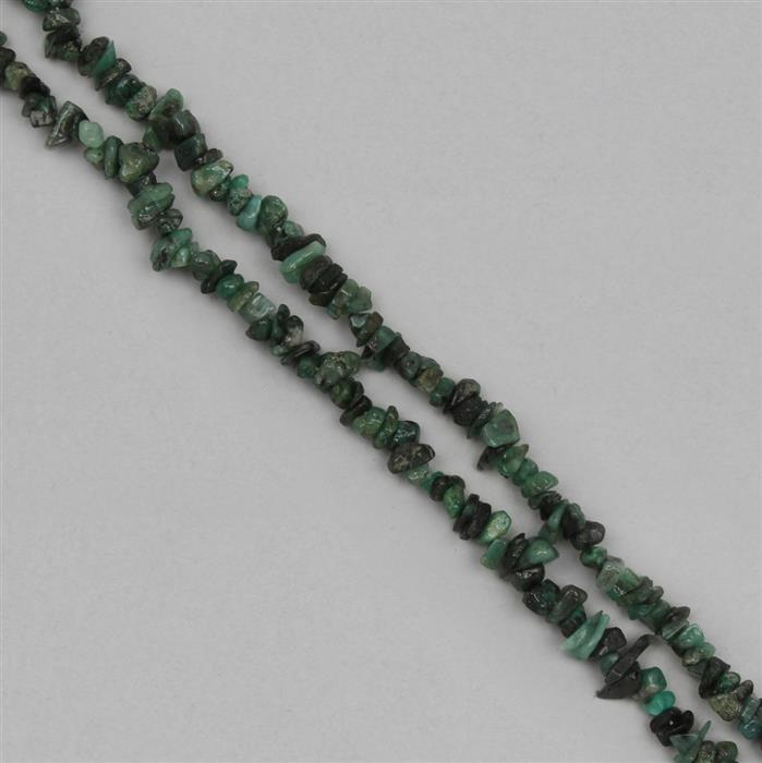 222cts Emerald Plain Medium Nuggets Approx 1x1 to 9x3mm, 98cm Strand.