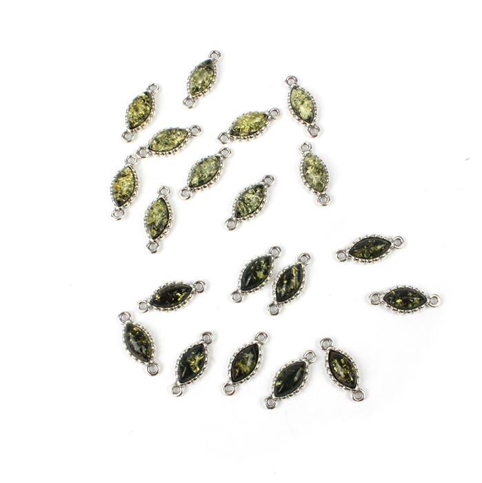 20pcs Baltic Green Amber Sterling Silver Marquise Connectors Approx 8x4mm (10pcs per pack)