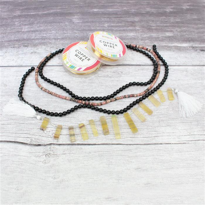 Desert Night:Yellow Fluorite bars,red Rhodonite wheels,2x black obsidian rounds & wires