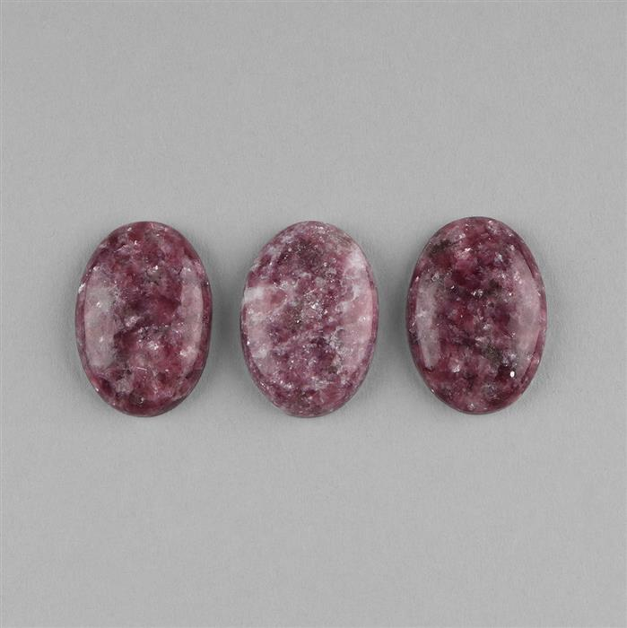 86cts Lapidolite Oval Cabochons Approx 29x20mm. (3pcs)