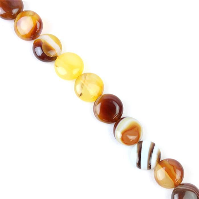 190cts Coffee Stripe Agate Puffy Coins Approx 12mm, 38cm/strand