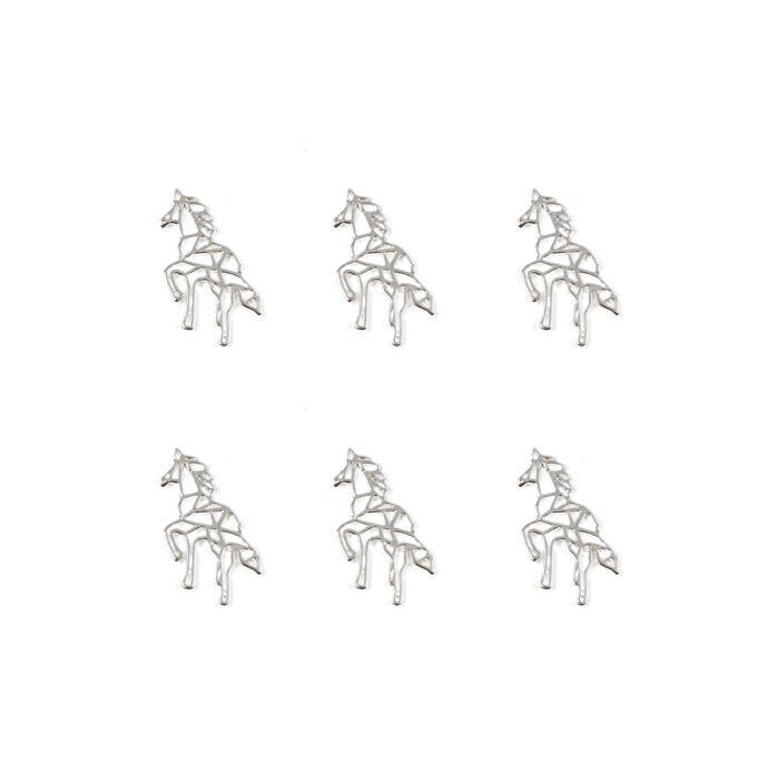 Silver Plated Base Metal Unicorn Pendant, Approx 14x30mm (6pcs)