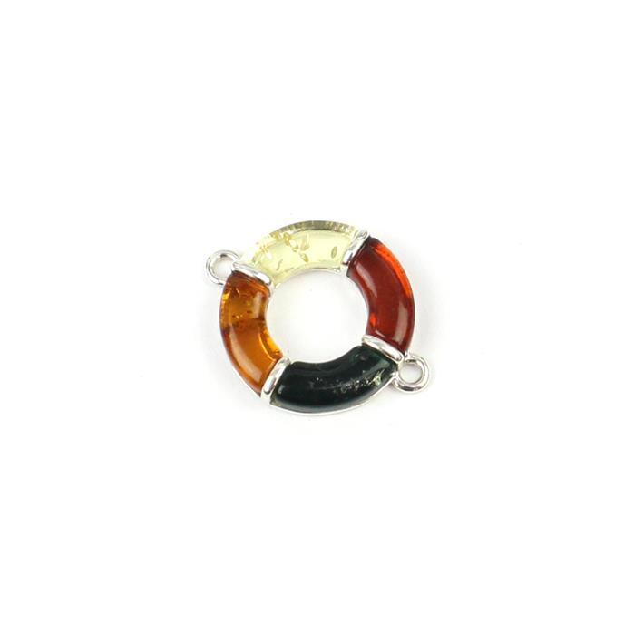 Baltic Multi-Colour Amber Circle Four Quarters Connector Approx 16x21mm Sterling Silver