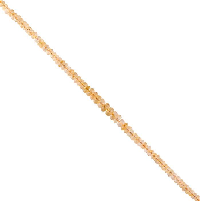 50cts Citrine Graduated Faceted Rondelles Approx 2x1 to 6x3mm, 30cm Strand.