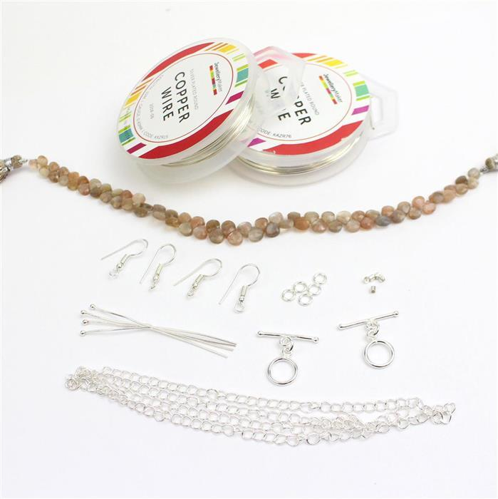 Silver Birch INC Peach Moonstone, 1.25mm & 0.4mm Silver Wire & Findings