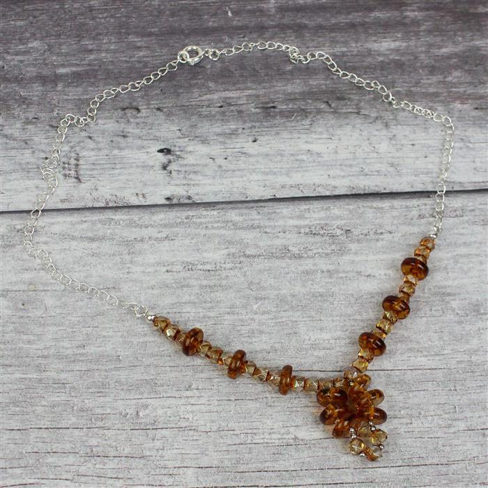 Baltic Cognac Amber Rondelles Approx 10x3mm, 20cm Strand Inc. Sterling Silver Spacers