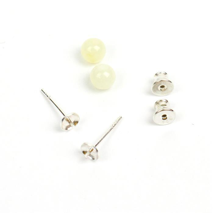 Baltic Off-White Amber Sterling Silver Stud Earrings, Approx 6mm (1 pair)
