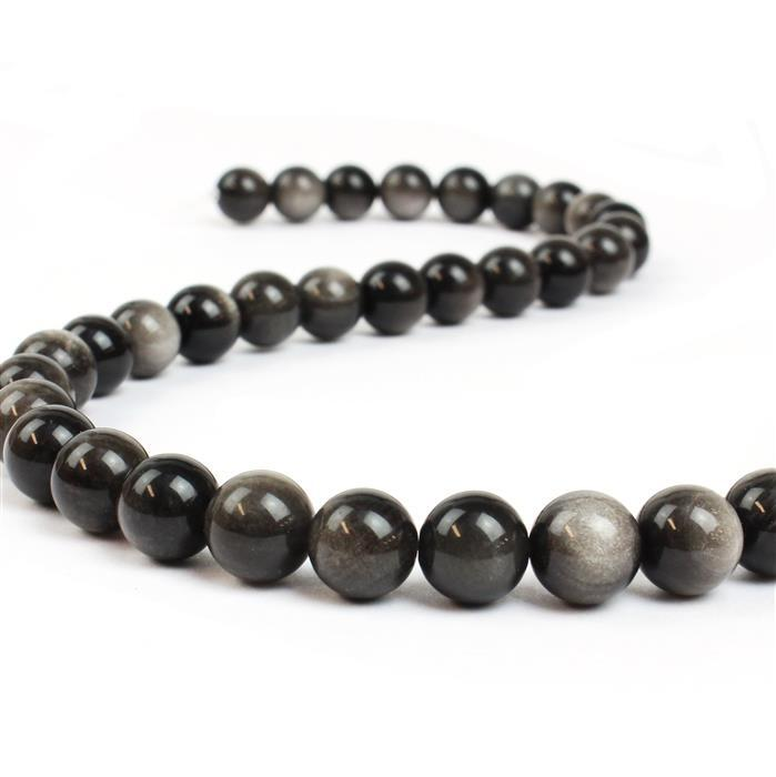 230cts Silver Obsidian Plain Rounds Approx 10mm, 38cm strand