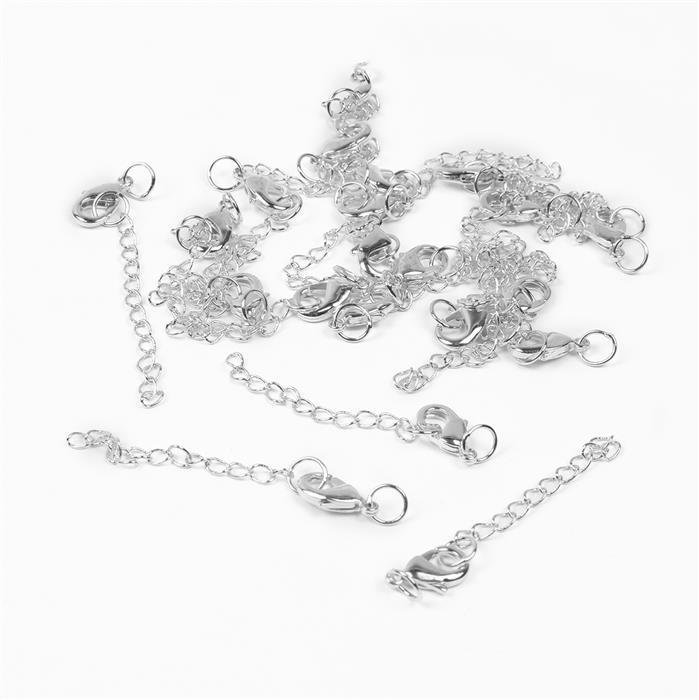 Silver Plated Brass Clasps with Extender - 65mm (20pcs/pk)