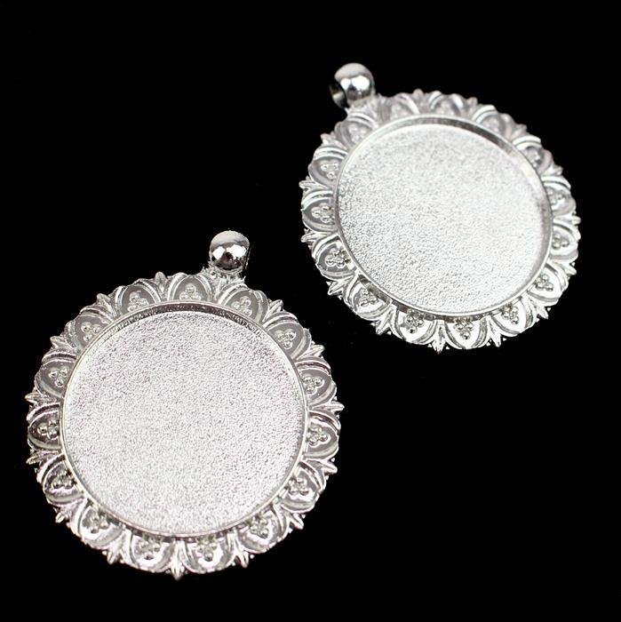 Silver Colour Flowery Oval Bezel Pendant Approx 35mm (Set of 2)