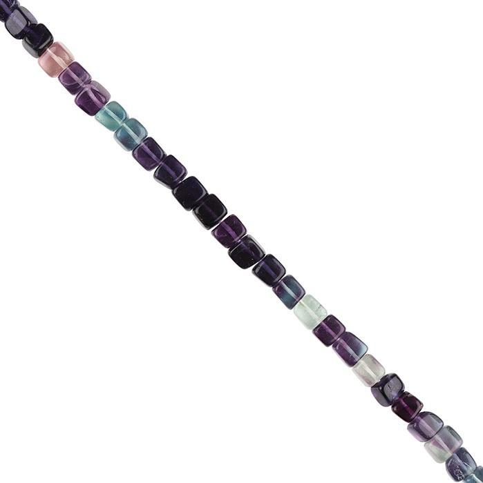 60cts Multi Colour Fluorite Graduated Plain Cubes Approx 4 to 5mm, 16cm Strand.