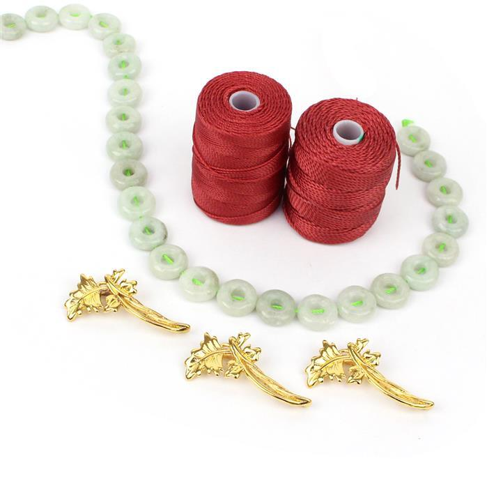 Donut Delight INC 30cm strand of 130cts Burmese Jadeite Donuts 12mm & cords