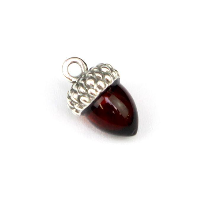 925 Silver Baltic Cherry Amber Acorn Charm Approx 13x8mm