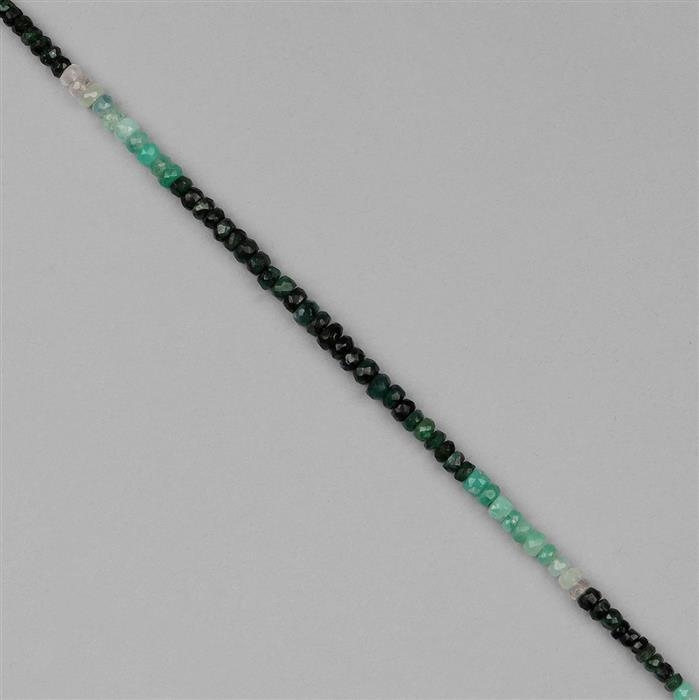 16.5cts Shaded Emerald Graduated Faceted Rondelles Approx 2x1 to 3x2mm, 18cm Strand.