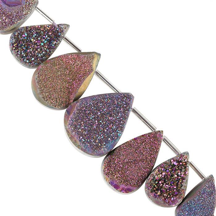 190cts Purple Colour Coated Drusy Quartz Graduated Drilled Fancy Pears Approx 20x13 to 30x21mm, 10cm Strand.
