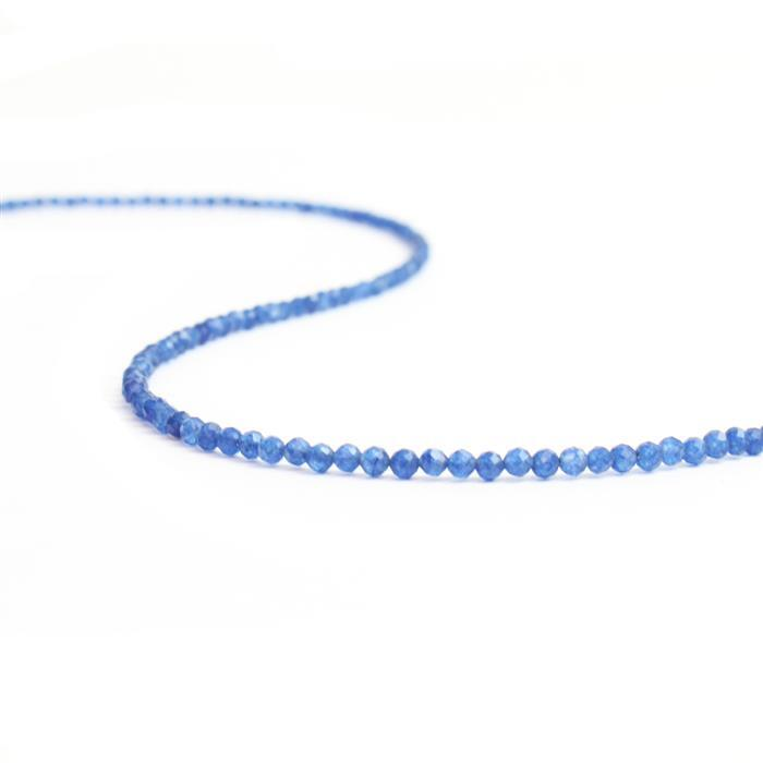 12cts Dyed Blue Quartz Micro Faceted Rounds 2mm, 30cm Strand.
