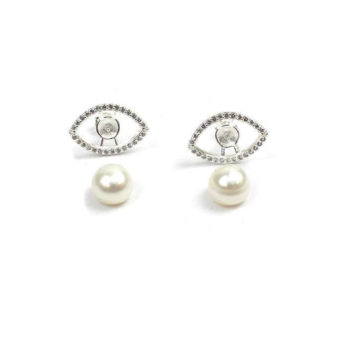 925 Sterling Silver Eye Earrings With Cubic Zirconia Approx 11x17mm(1Pair) Inc. 8.5mm White Freshwater Cultured Button Pearls (1 Pair)