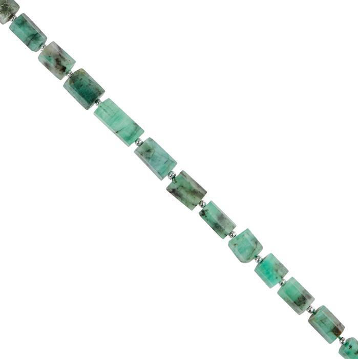 40cts Emerald Graduated Faceted Barrels Approx 5x4 to 10x7mm, 18cm Strand.