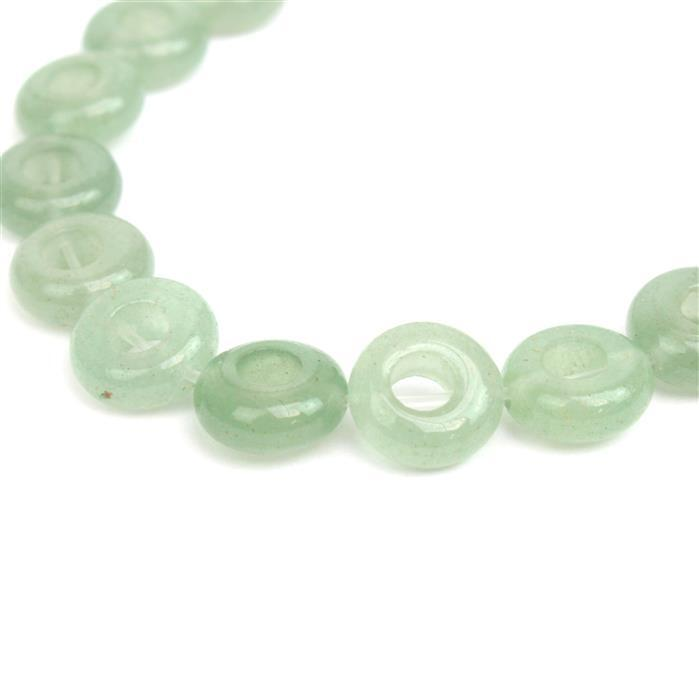 50cts Green Aventurine Donuts Approx 10mm, 18-20cm/7-8
