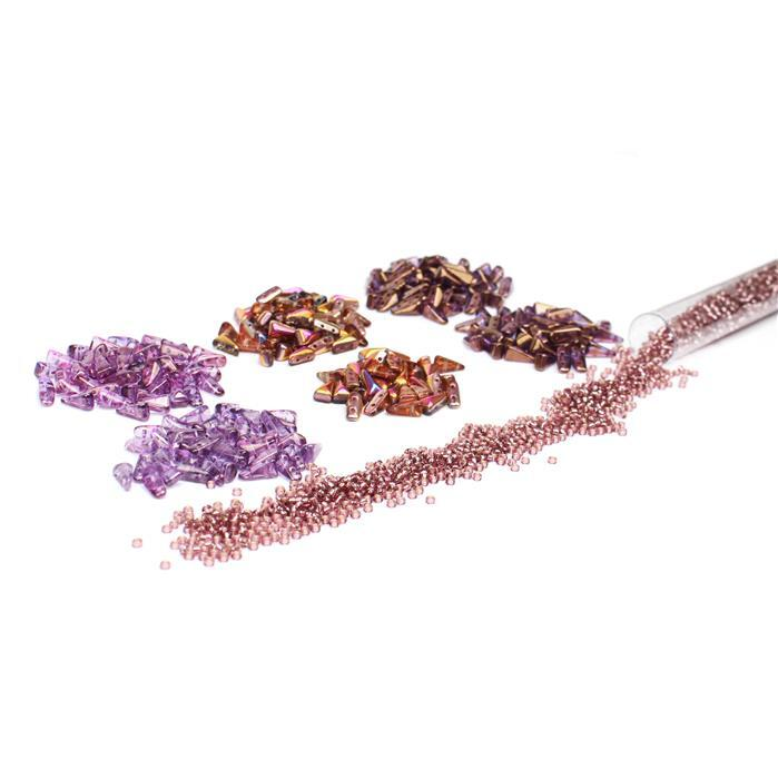 Berry:2x Czech Vexolo Crystal Sunset, Lila Vega & Bronze Beads (50pc),11/0 Smokey Amethyst