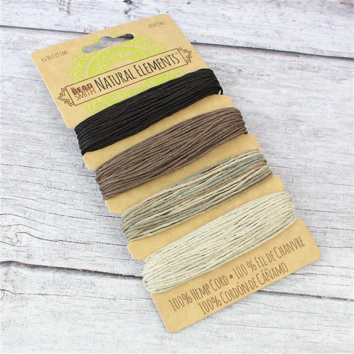Beadsmith Hemp 4 Colour Card - Natural Shades, 1.00mm