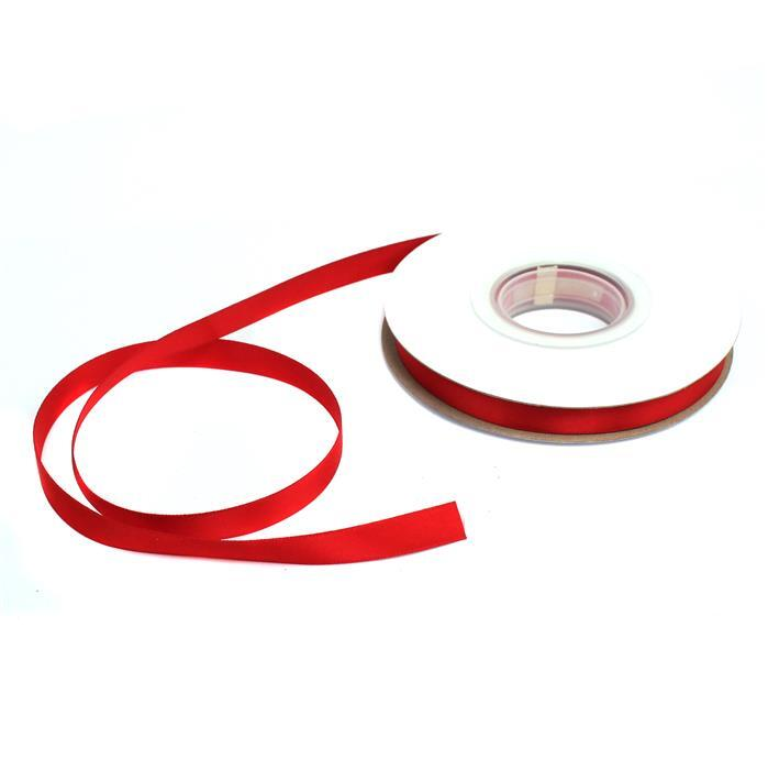 20m Red Double Faced Satin Ribbon, Width Approx 9mm