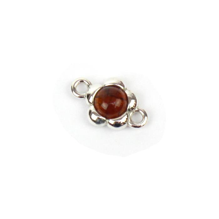 Baltic Cognac Amber Round Cabochon Flower Connector Approx 9mm Sterling Silver