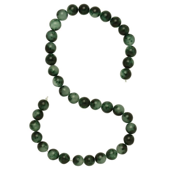 250cts Shaded Green Colour Dyed Quartz Plain Rounds Approx 9mm, 36cm Strand.
