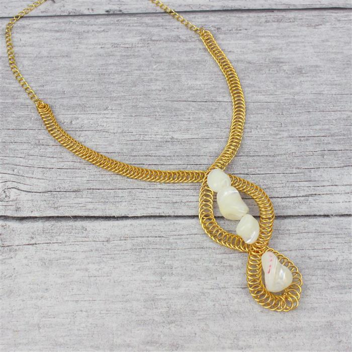 Seashore INC White Cone Shells, Shell Pear Cabochon, Shell Pearl Flowers & Gold Wire