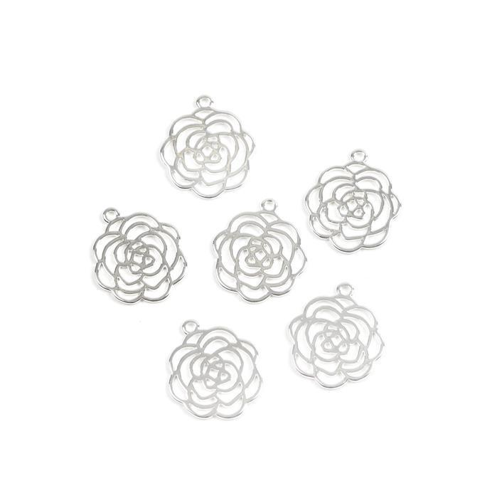 Silver Plated Base Metal Rose Charms Approx 23X20mm (6pcs)