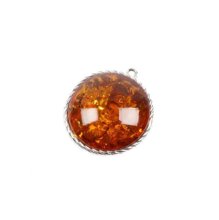 Baltic Cognac Amber Twisted Sterling Silver Round Pendant - 23x21mm