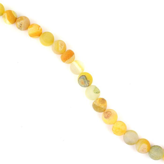 270cts Yellow Agate Frosted Rounds with Druzy Hole Approx 10mm, Approx 38cm/strand