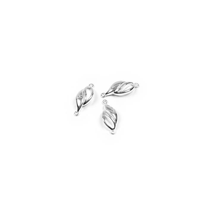 3D Leaf Bracelet Connectors - 17x7mm (3pcs/pk)