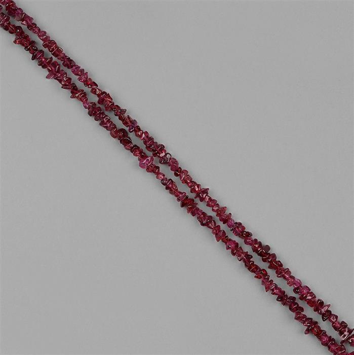 195cts Red Garnet Graduated Plain Small Nuggets Approx 2x1 to 7x3mm, 98cm Strand.