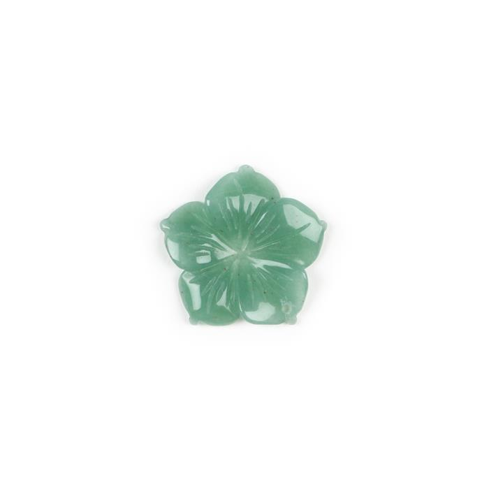 15cts Green Aventurine Carved Flower Pendant Approx 30mm