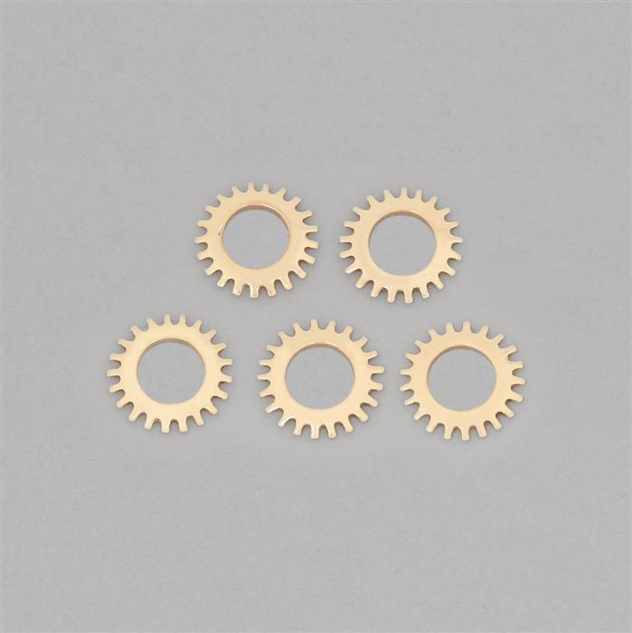 Polished Brass Steampunk Wheel Finding Approx 22mm (5pcs)