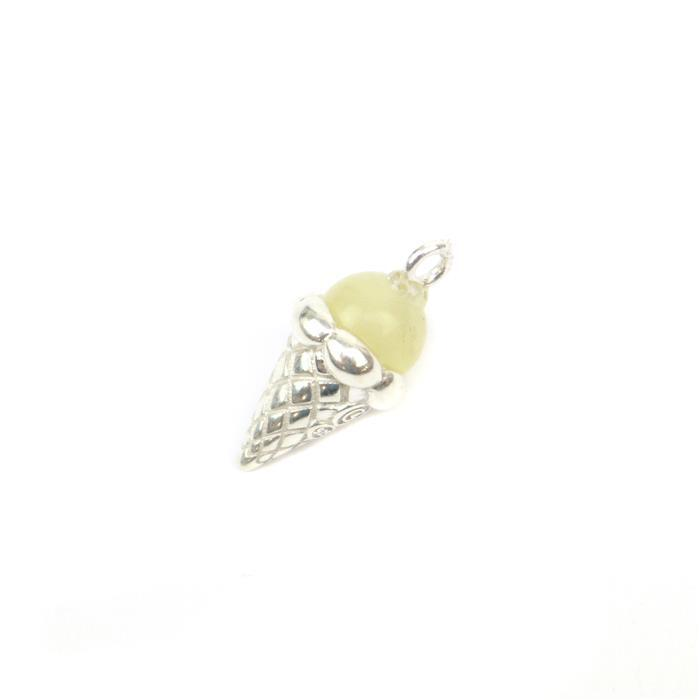 Baltic Butterscotch Amber Icecream Charm Approx 18x9mm Sterling Silver