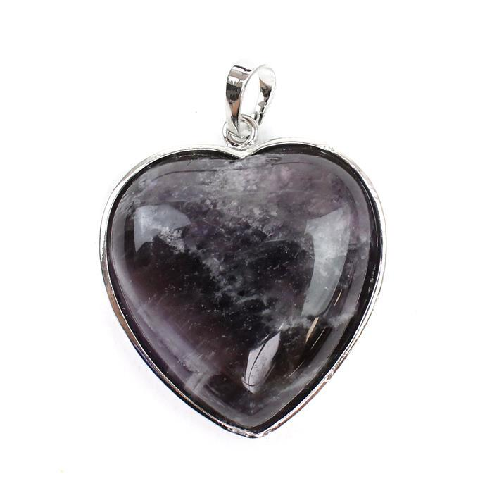 70cts methyst Heart Pendant Approx 33x37mm with 8mm loop