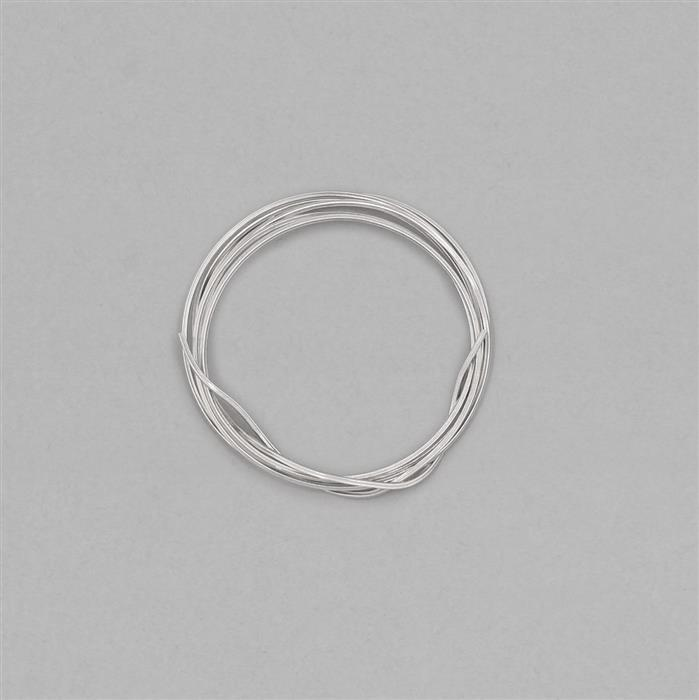 1m White Rhodium Plated 925 Sterling Silver Square Wire Approx 1.1mm