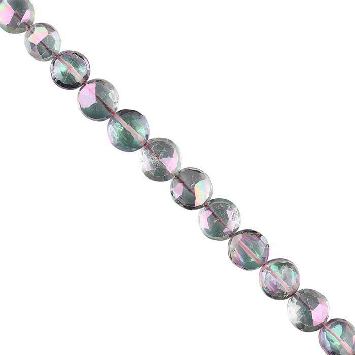 50cts Mystic Topaz Graduated Faceted Coins Approx 7 to 9mm, 12cm Strand.