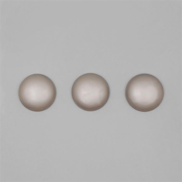 Light Coffee Frosted Shell Pearl Round Cabochon Approx 30mm (3PCS)
