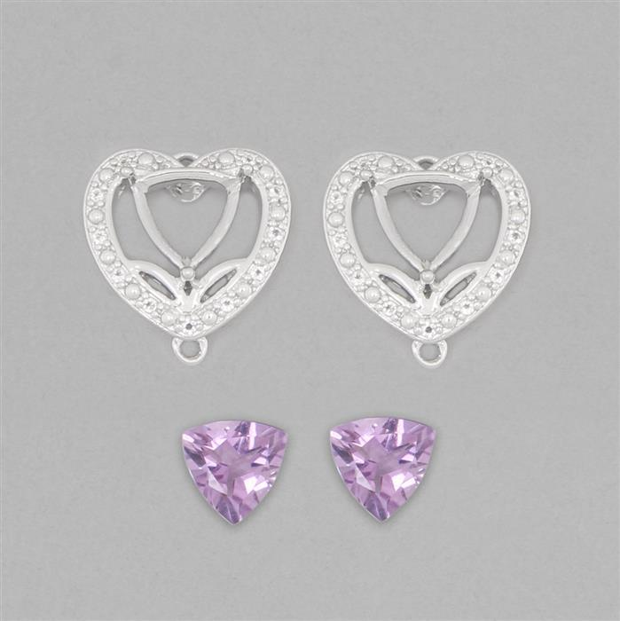 925 Sterling Silver Connector Mounts Fits 7mm Triangle Inc. 1.9cts Amethyst 7mm Triangle with 0.1cts White Topaz Approx 1mm Round (2pcs)