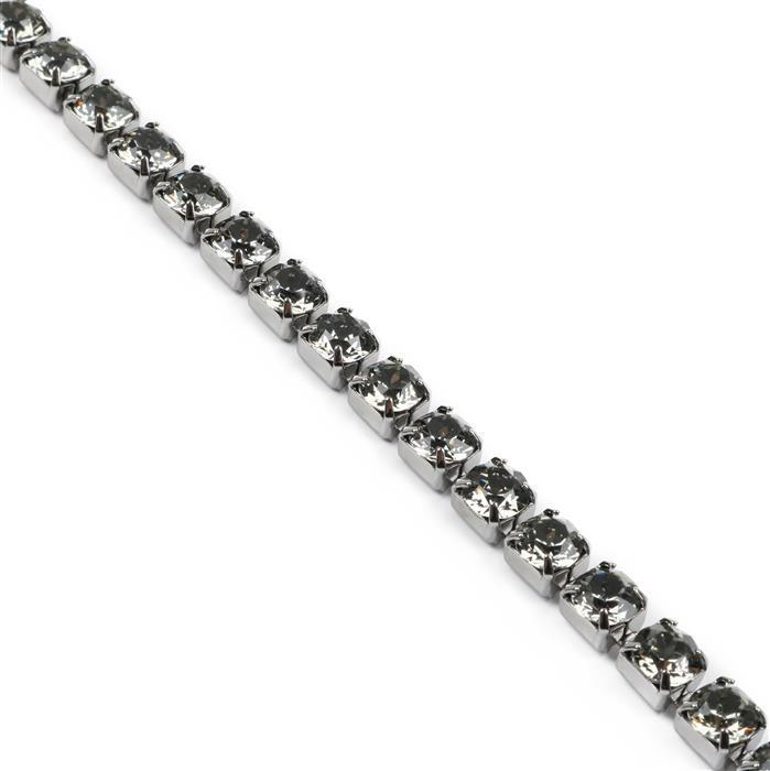 Swarovski Cupchain 27104 SS29 Black Diamond with Gun Metal Casing - Pack of 50cm